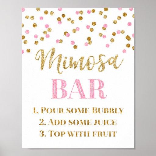 Gold Pink Confetti Mimosa Bar Sign Wedding