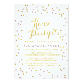 Gold & Pink Confetti White Hens Party Invitation