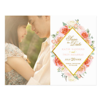 Gold, Pink, Coral and Peach Save the Date Postcard
