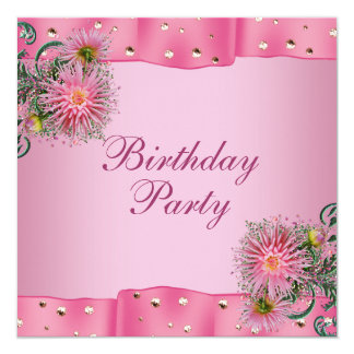 Gold Pink Dahlia Womans Birthday Party Card