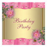 Gold Pink Dahlia Womans Birthday Party Custom Invitations