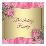 Gold Pink Dahlia Womans Birthday Party Custom Invitations