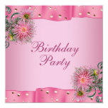 Gold Pink Dahlia Womans Birthday Party Invitations