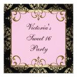 Gold Pink Damask Sweet 16 Birthday Party Custom Invitation