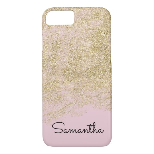 Gold Pink Faux Sparkly Glitter Personalised iPhone 8/7