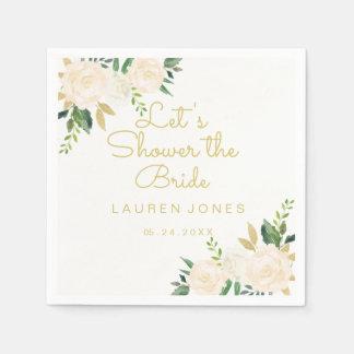 Gold Pink Floral Elegant Bridal Shower Napkin Paper Napkins