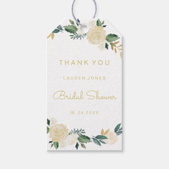 Gold Pink Floral Elegant Bridal Shower Tags