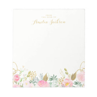 Gold Pink Floral Personalized Stationery Notepad