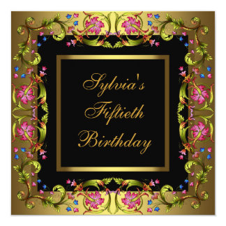 Gold Pink Flowers Womans 50th Birthday Party 13 Cm X 13 Cm Square Invitation Card