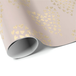 Gold Pink Foxier Delicate Sweet Heart Pearl Blush Wrapping Paper