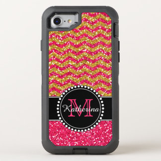 Gold & Pink Glitter Chevron Personalized Defender OtterBox Defender iPhone 8/7 Case