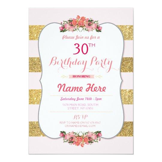 Gold Pink Glitter Stripe Birthday Party Invite