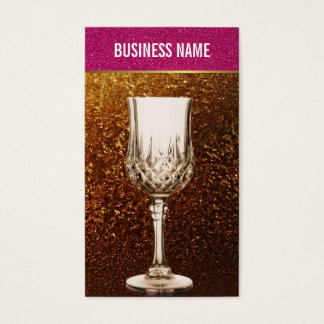 Gold & Pink Glitter Wine Glass Business Card