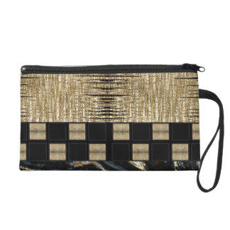 Gold Pink Grey Abstract Wristlet Clutch