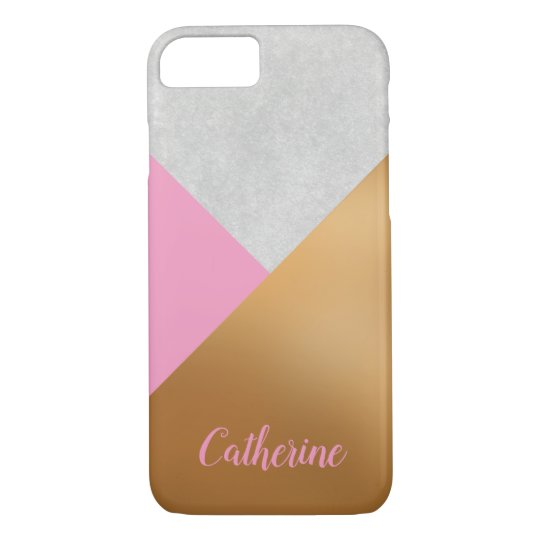 Gold, Pink, & Grey Geometric Personalised Mobile iPhone