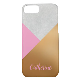 Gold, Pink, & Grey Geometric Personalized Mobile iPhone 8/7 Case
