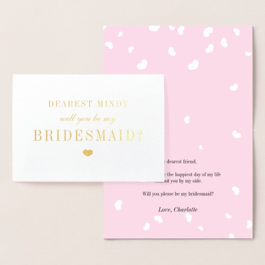 Gold & Pink Hearts Be My Bridesmaid Foil