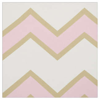 Gold Pink Large Chevron Baby Girl Fabric