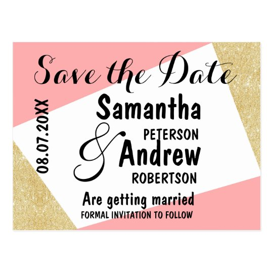 Gold pink modern colour block save the date