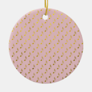 Gold Pink Musical Notes Metallic Faux Foil Christmas Ornament