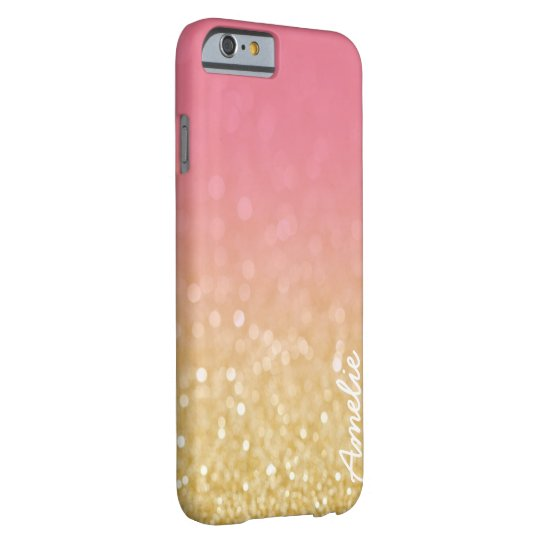 Gold Pink Ombre Glitter Personalised Name Iphone 6