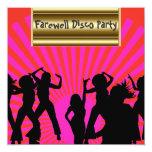 """Gold pink Popular Disco Farewell Invitation 5.25"""" Square Invitation Card"""