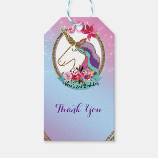 Gold Pink Purple Magical Unicorn Birthday Party Gift Tags