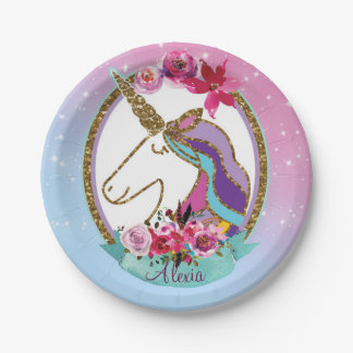 Gold Pink Purple Magical Unicorn Birthday Party Paper Plate