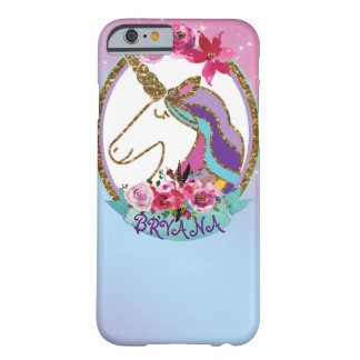 Gold Pink Purple Magical Unicorn Sparkle Glitter Barely There iPhone 6 Case