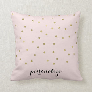 Gold Pink Sparkle Confetti Dots personalized Throw Pillow