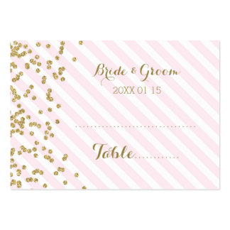 Gold Pink Stripe Wedding Table Place Setting Cards Pack Of Chubby Business Cards