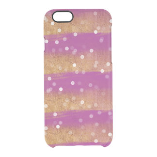 Gold Pink Stripes Bokeh Clear iPhone 6/6S Case