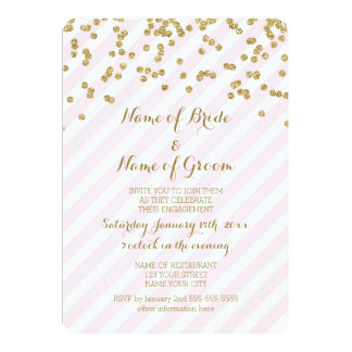 Gold Pink Stripes Engagement Party Invitation