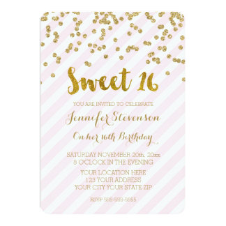 Gold Pink Sweet 16 Birthday Party Invitations