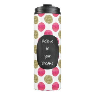 Gold Pink Watercolor Dots Thermal Tumbler