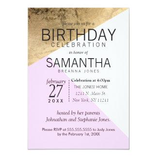 Gold Pink White Geo Triangles Birthday Party 13 Cm X 18 Cm Invitation Card
