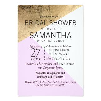 Gold Pink White Geo Triangles Bridal Shower Invite