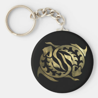 Gold Pisces Fish Key Ring