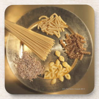Gold Plate with pasta and grains of wheat Coaster