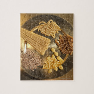 Gold Plate with pasta and grains of wheat Jigsaw Puzzle