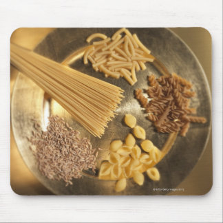 Gold Plate with pasta and grains of wheat Mouse Mat