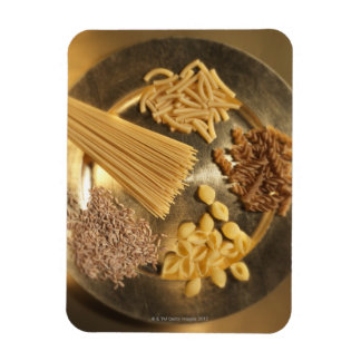 Gold Plate with pasta and grains of wheat Rectangular Photo Magnet