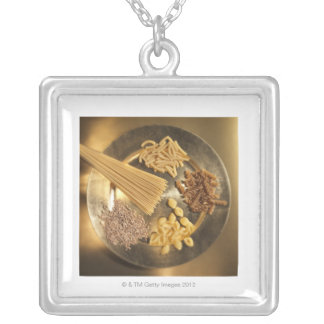 Gold Plate with pasta and grains of wheat Silver Plated Necklace