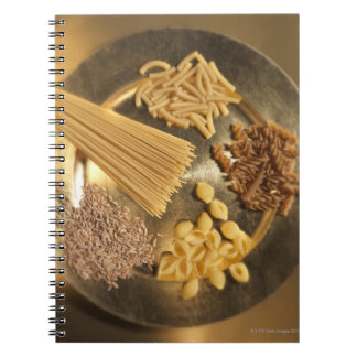 Gold Plate with pasta and grains of wheat Spiral Notebook