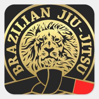 Gold Plated Brazilian Jiu-Jitsu Black Belt Square Sticker