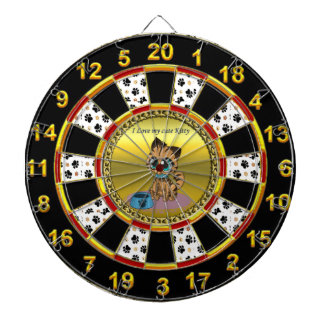 Gold playful fluffy cute kitten with cat eyes dartboard