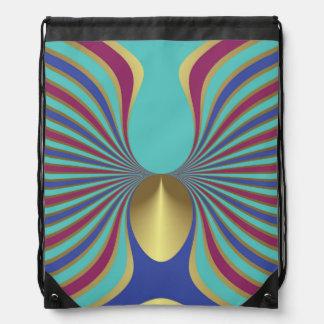 Gold Plum Cobalt Turquoise Optical Illusion bird Backpacks