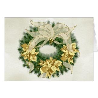 Gold Poinsetta Christmas Wreath Card