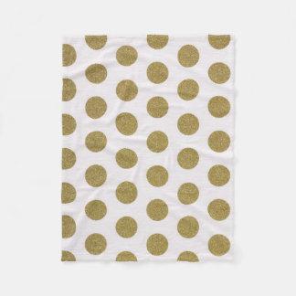 Gold Polka Dot Fleece Blanket Home Decor