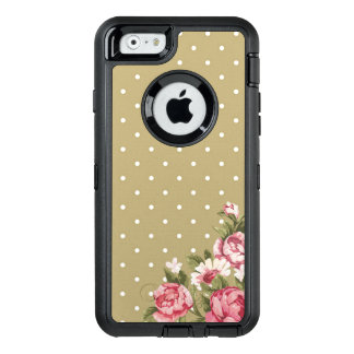 Gold Polka Dot Floral Girly Phone OtterBox Defender iPhone Case